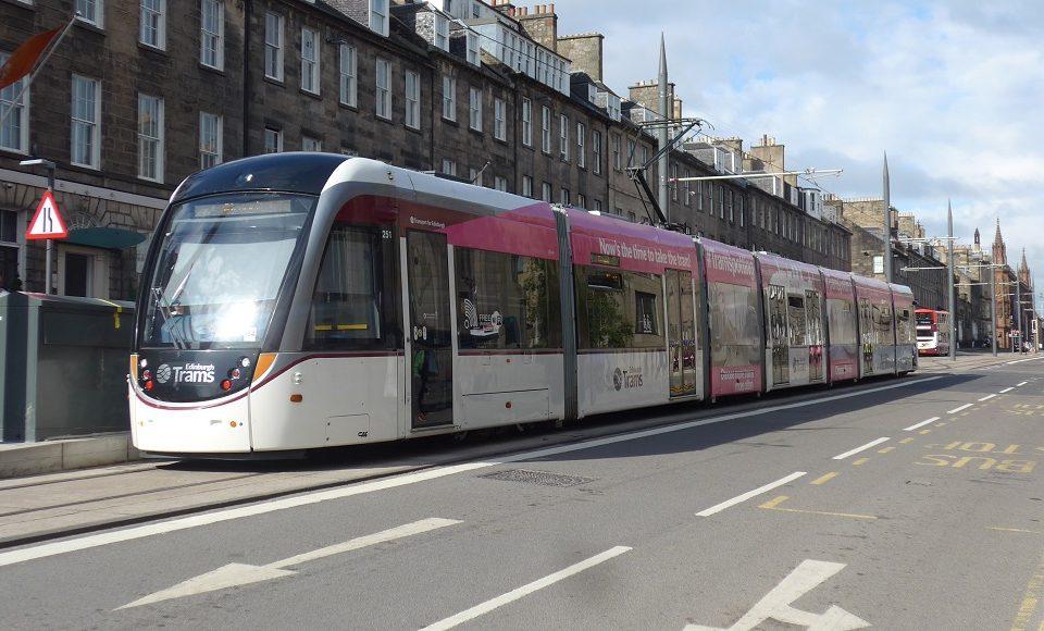 Edinburgh CAF articulated tram in York Place number 251
