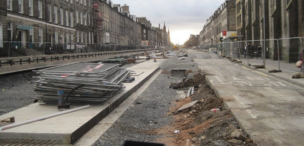 Photo of tramway construction in Edinburgh in 2013