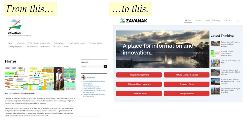 Old and new Zavanak home pages